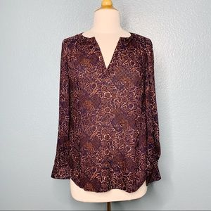 Hinge | Floral Lattice Lace Trim Blouse NWT
